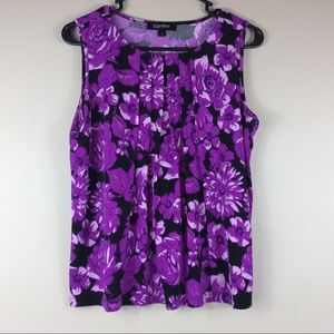 Ellen Tracy Floral Print Sleeveless Blouse Sz M